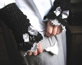 Black - Grey  Victorian lace mittens