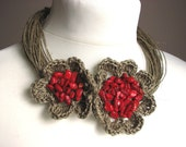 Coral Red  Flowers - linen necklace