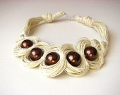 RESERVED Antique Brown Pearls - linen necklace