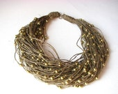 Golden raindrops - linen necklace