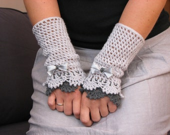 Grey  Victorian lace mittens