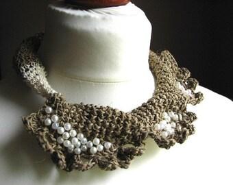 Fine Art  delicate flower - organic linen  Crochet Necklace OOAK