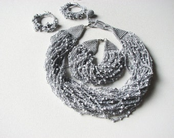 Gray Dew Drops - jewelery set necklace bracelet earrings
