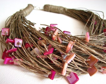 Pink Glamour - linen necklace