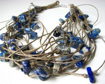 Deep Sea Lapis Lazuri - linen necklace