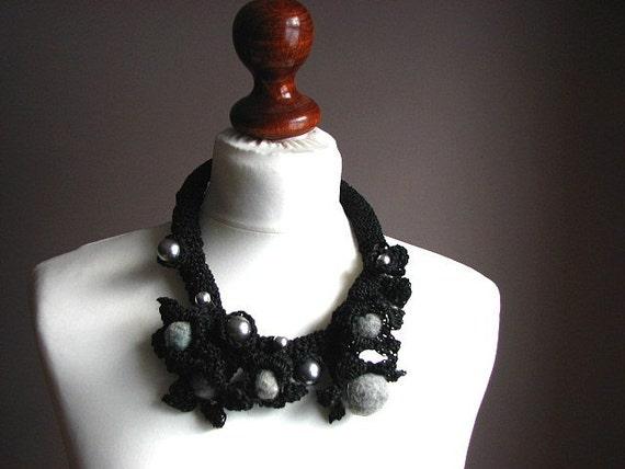 Fine Art  Black Swan - organic linen  Crochet Necklace OOAK