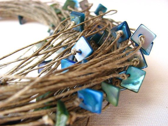 Turquoise Glamour - linen necklace