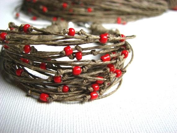 Red Roses- linen bracelet