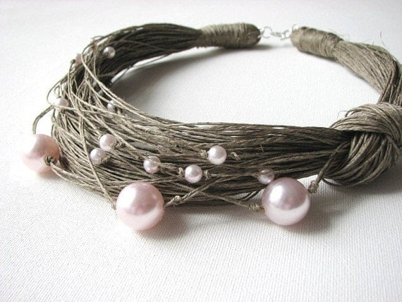 Pink Pearls -  linen  Necklace