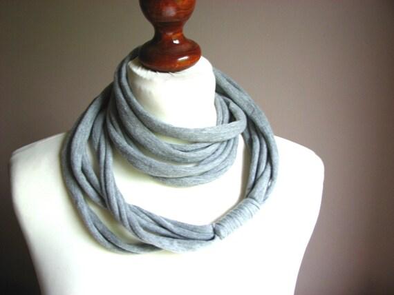 ZAMOTKA cotton scarf necklace LIGHT GRAY