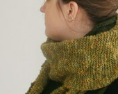 Green scarf wool Handknitted FREE SHIPPING