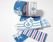 Self adhesive fabric masking tape / fabric sticker  - Nautical marine