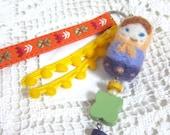Russian doll Matryoshka doll mascot - cute needle felted cell phone strap / charm