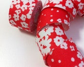 Self adhesive fabric masking tape / fabric sticker  - dots and floral prints on orange