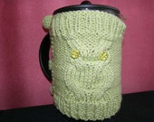 Owl  French Press Cozy, Coffee , Tea Cozy lime green Color Ready to Ship