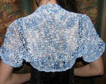 Knit  Blue and White Ribbon Bolero, Shrug -Spring Summer Fashion - Wedding Accessories