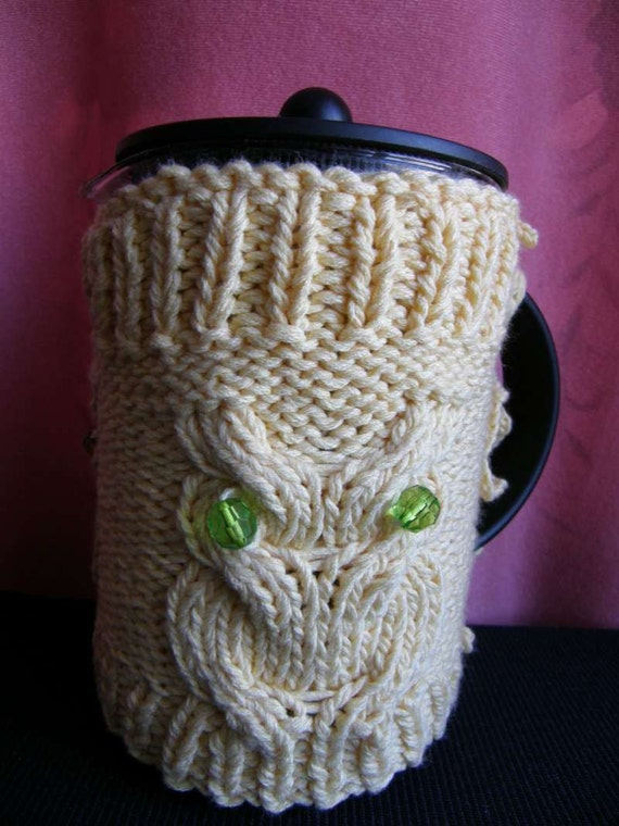 Owl  French Press Cozy, Coffee , Tea Cozy light yellow Color Ready to Ship