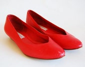 80s Red Leather Flats  Womens 8.5