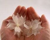 Swarovski Pearl Bridal Hair Pin, Flower Bridal Hairpin, Ivory Wedding Hair Pin, Floral Gold Wedding Hairpin, Pure Silk Bridal Hair Accessory