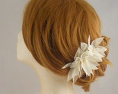 Pure Silk Wedding Hair Comb, Wedding Hairpiece, Bridal Flower Comb, Freshwater Pearl Bridal Hair Piece, Fall Wedding Hair Accessory, Ivory
