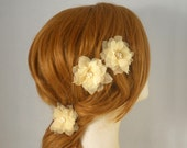 Pure Silk Bridal Flower Clip, Champagne Bridal Hair Flower, Gold Wedding Hair Flower, Bridal Hair Clip, Swarovski Crystal Freshwater Pearl