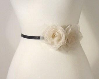 Silk Wedding Sash Flower Wedding Flower Sash, Bridal Flower Sash, Bridal Flower Sash, Bridal Floral Sash, Wedding Dress Flower Belt Flower