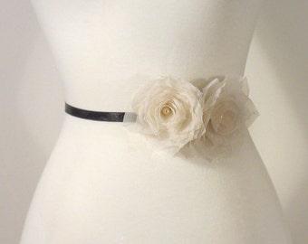 Pure Silk Wedding Sash Flower Wedding Flower Sash, Bridal Flower Sash, Bridal Flower Sash, Bridal Floral Sash, Wedding Dress Flower Belt