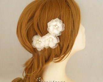 Pure Silk Wedding Hair Flowers,  Ivory Bridal Hair Flowers, Wedding Head Piece, Wedding Hairpiece, Wedding Hair Accessory,Freshwater Pearl