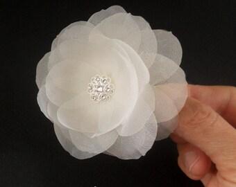 Pure Silk Bridal Hair Flower, Swarovski Wedding Hair Flower Ivory Flower Bridal Hair Clip Wedding Hairpiece Wedding Hair Accessory Crystal