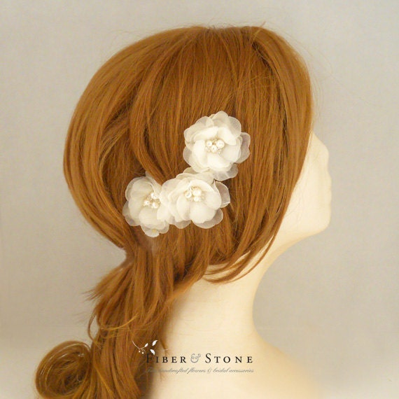 Freshwater Pearl Wedding Hair Flower, Ivory Bridal Hair Flower, Bridal Hair Piece, Bridal Hairpiece, SILK, Flower Wedding Hairpiece Handmade