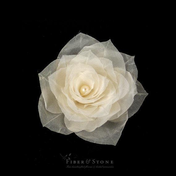 Pure Silk Bridal Hair Flower, Rose Wedding Hair Flower, Ivory Bridal Hair Piece, Hairpiece, Bridal Hair Accessory, Freshwater Pearl, Flower