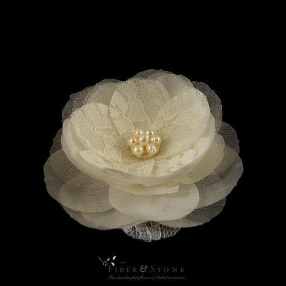 Freshwater Pearl Wedding Hair Flower, Lace Bridal Hair Flower Bridal Hair Piece, Ivory Bridal HairPiece, Fall Wedding Hairpiece, Bridal Hair
