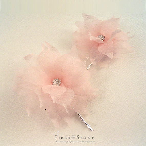 Pure Silk Wedding Hair Flower, Pink Bridal Hair Flower, Blush Wedding Hair Piece, Swarovski Crystal Bridal Hair Pins, Wedding Hair Accessory