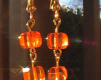 Orange Crystal Cube Earrings