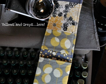 DSLR Padded Camera Strap Cover Yellows and Greys-Made to Order