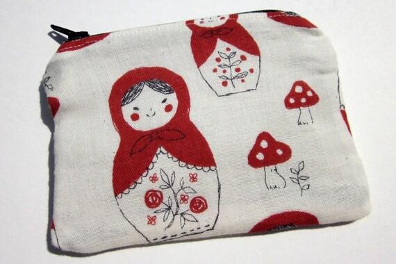Russian Nesting Dolls Matryoshka Fabric Small Coin Pouch