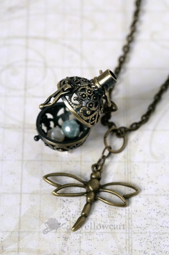 Filigree Magic Ball Locket with Dragonfly Necklace