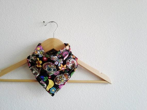 Birds and Sugar Skulls Bibdana, Reversible Bandana Bib for baby