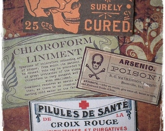 SALE - Vintage Poisons - Sticker Label Set