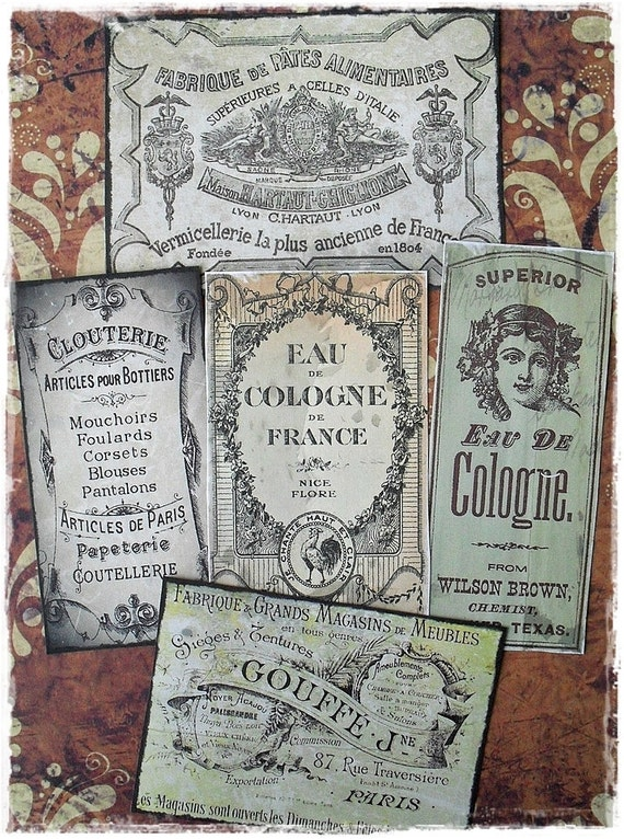 Antiqutated French Sticker Labels