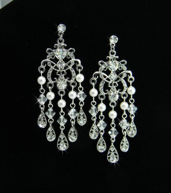 Crystal chandelier Bridal Earrings, Wedding Earrings, Swarovski Crystals Pearls, Wedding Jewelry, Rhinestone, Vintage Style, Bridgette