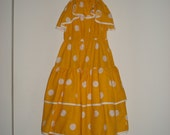 vintage 80s yellow white polka dot tiered ruffle summer dress sundress 1980s