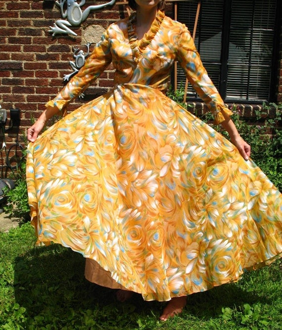 SALEVintage 50s Cocktail Party Dress / Tangerine Blue and White / Sheer Overlay / Full Skirt / Ruffled / Maxi Dress/ Prom / Evening Gown