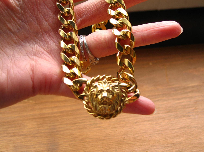Vintage 80s Anne Klein Gold Tone Chunky Lion Head Choker