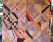 Fabulous Abstract Improvisational Antique Vintage Quilt - Great old Feedsacks
