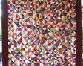 RESERVED FOR CUSTOMER ---- Primitive Antique Triangles Silk Vintage Quilt - Stunning Design