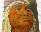 Vintage Native American Elder Indian Painting on Canvas - Signed O.J. - Perfect