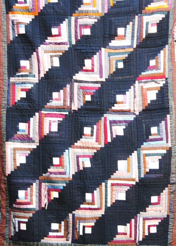 Antique Vintage Log Cabin Quilt - A Stunner