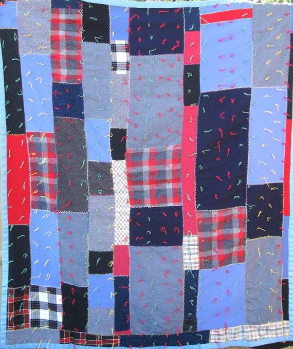 Striking Primitive Folk Art Strip Vintage Quilt - Excellent