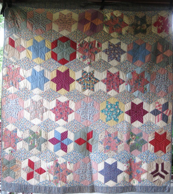 Striking Field of Stars Antique Vintage Quilt - Old Cotton Fabrics, Feedsacks - Superb